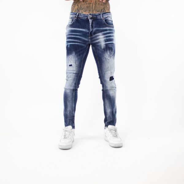 Blue Faded Jeans with Red Paint Splat