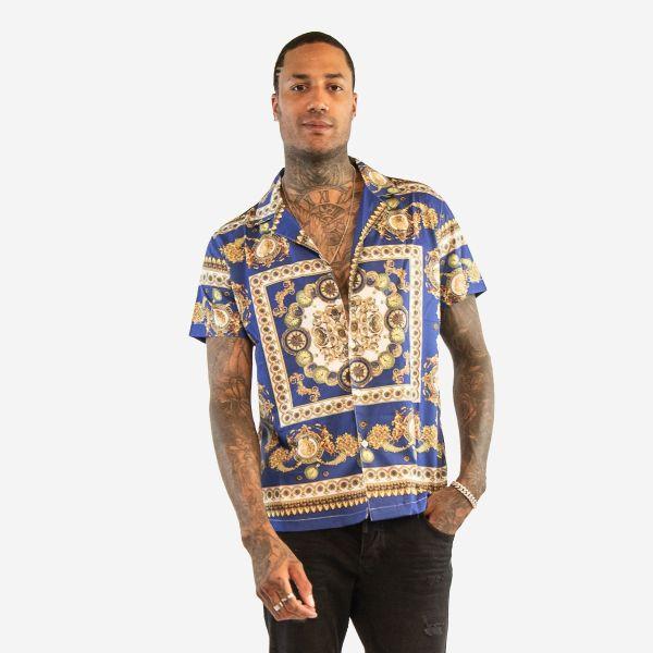 Blue and Gold Short Sleeves Shirt