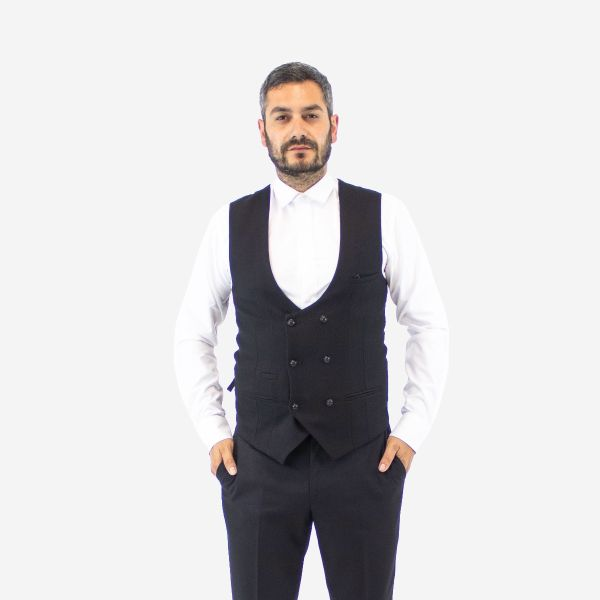 Marc Darcy Black Kelvin Double Breasted Waistcoat