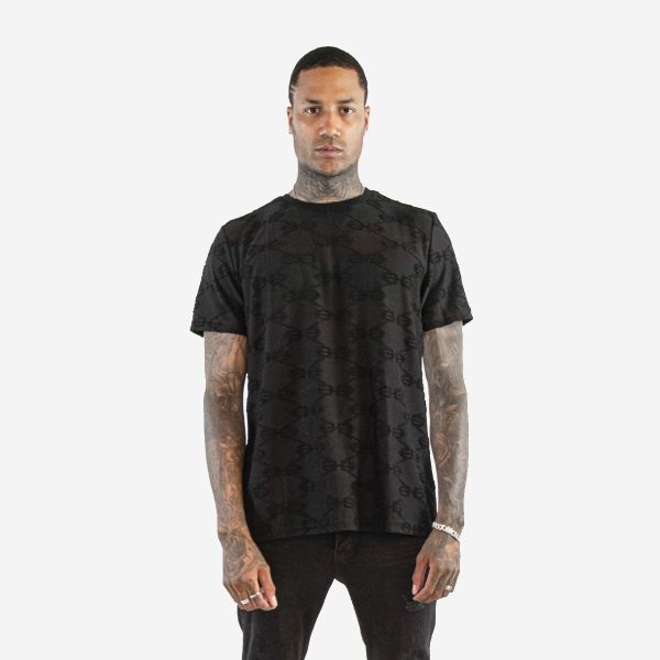 Black Embroidered Pattern T-Shirt