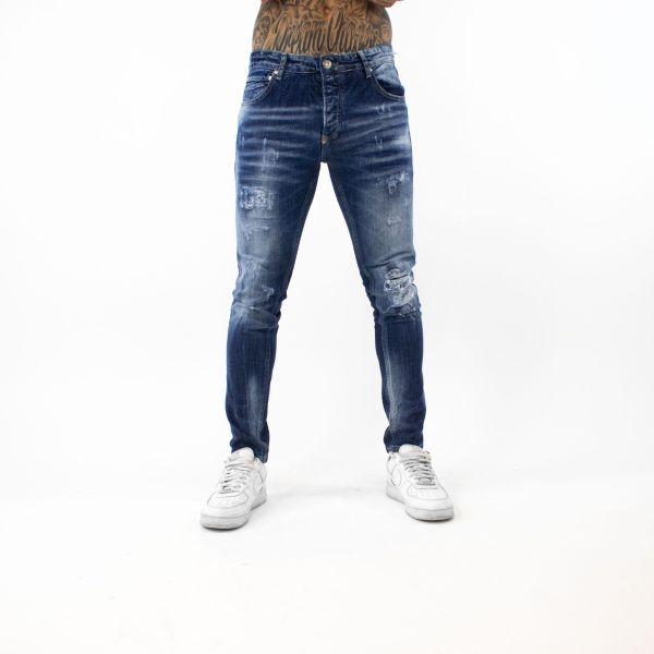 Blue Washed Ripped Jeans