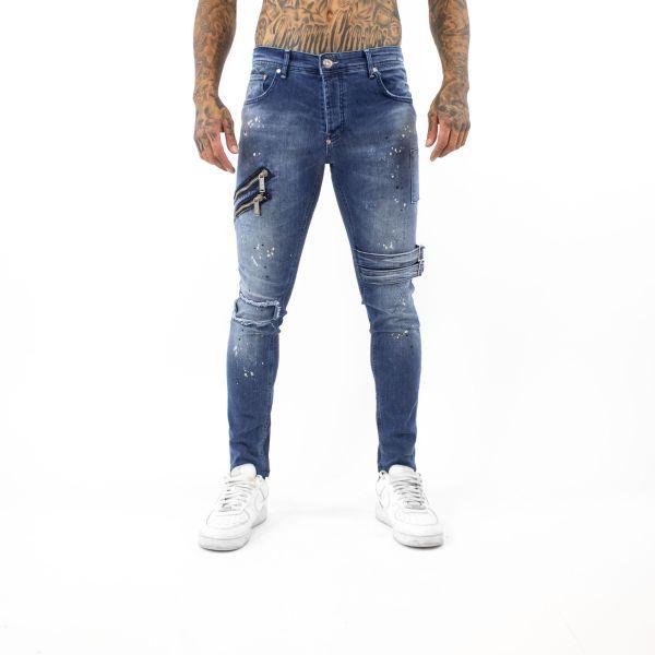 Blue with Paint Splat Effect Buckle Jeans