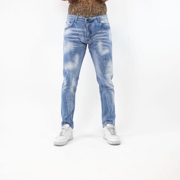 Light Blue Washed & Grazed Straight Leg Jeans