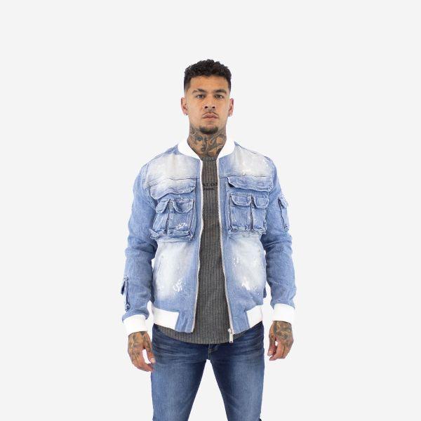 Blue Multi Pocket Cargo Denim Jacket
