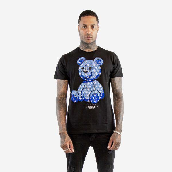 Black and blue diamanté teddy T-shirt