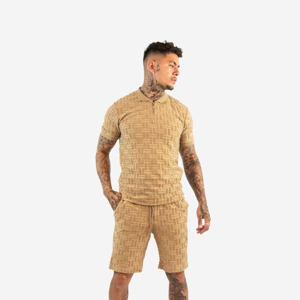 Camel Embroidered Maze Design Zip Collar T-Shirt