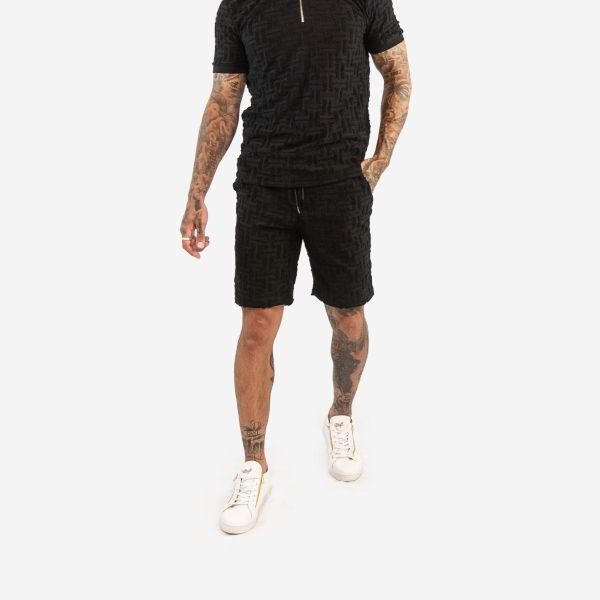 Black Embroidered Maze Pattern Shorts