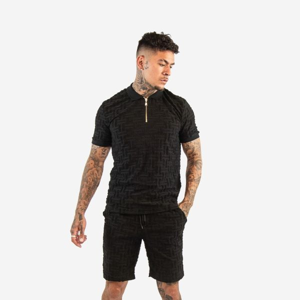 Black Embroidered Maze Design Zip Collar T-Shirt