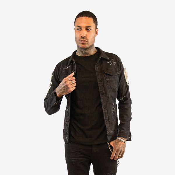 Black Denim Jacket With White Paint Splat Effect