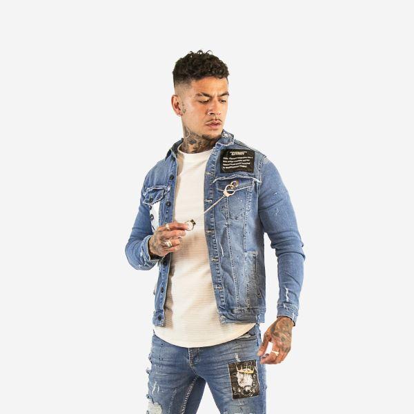 Blue Denim Printed Jacket