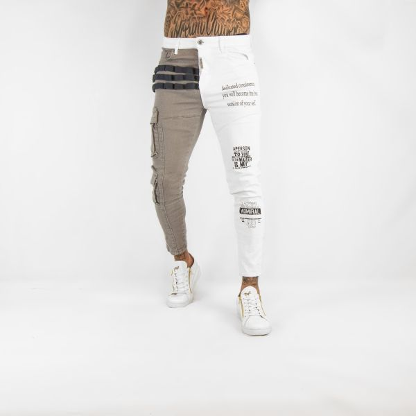 White and Grey Slogan Jeans