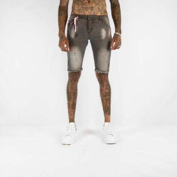 Black Denim Shorts with Pink Splat Effect