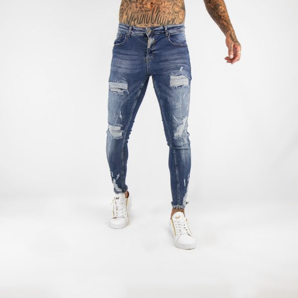 Dark Blue Distressed Fray Ankle Skinny Fit Jeans