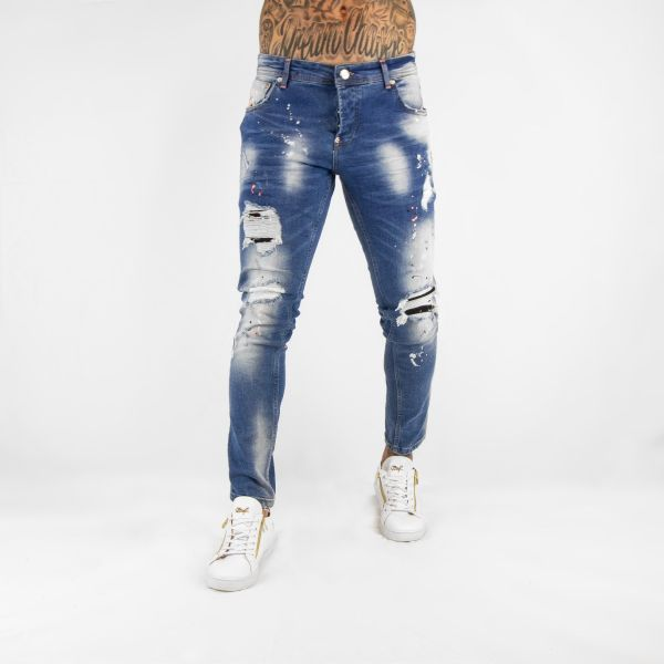 Blue Distressed Jeans With Neon Orange Paint Splat