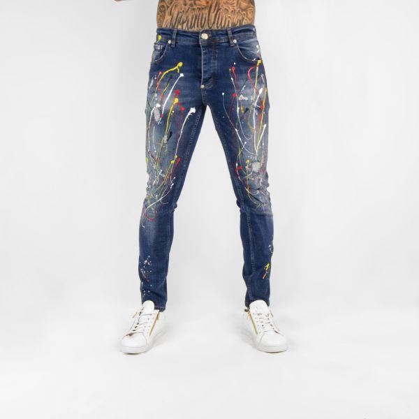Blue Jeans with Paint Splat