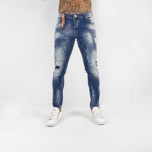 Blue Light Wash Neon Orange Paint Splat Effect Jeans
