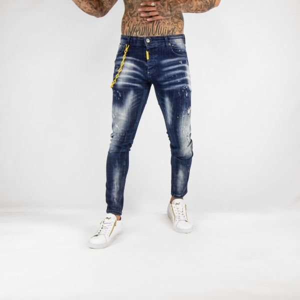 Blue Jeans with Yellow Chain