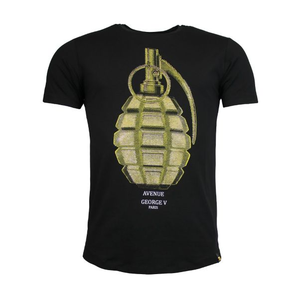 Black Diamante Grenade Printed Crew Neck T-Shirt