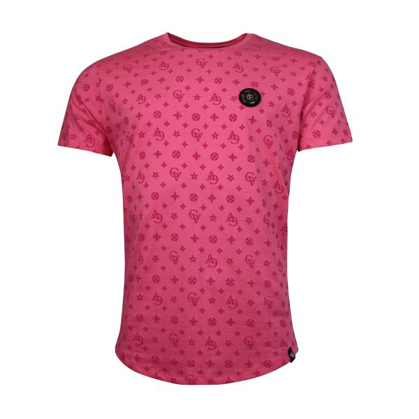 Pink Patterned Crew Neck T-Shirt