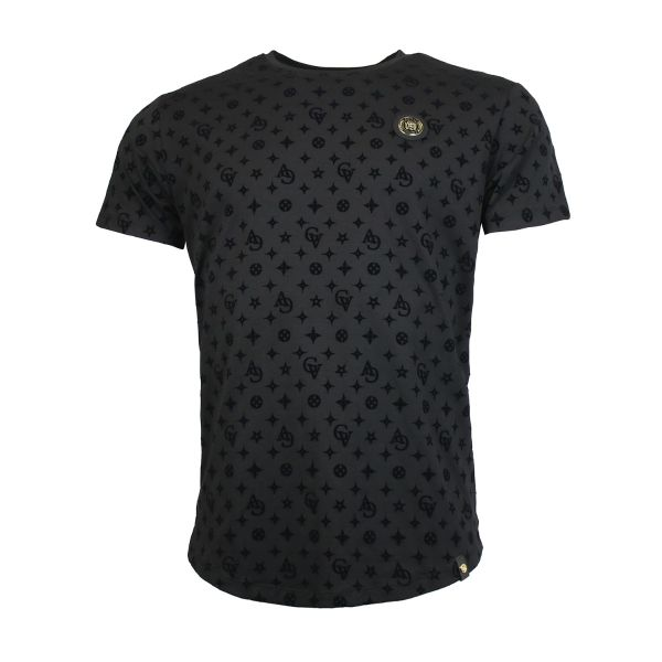 Black Patterned Crew Neck T-Shirt