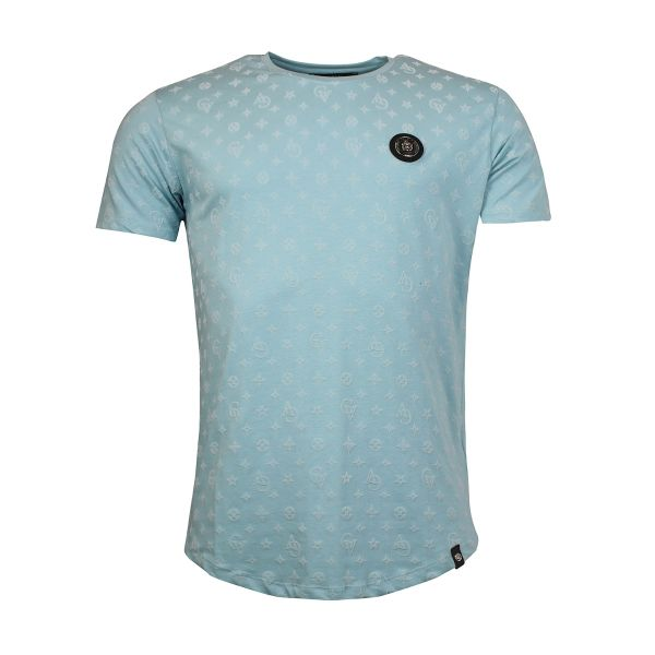 Baby Blue Patterned Crew Neck T-Shirt