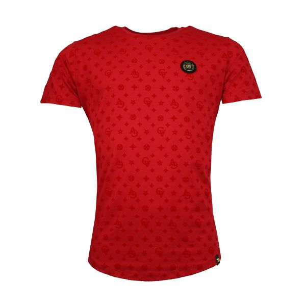 Red Patterned Crew Neck T-Shirt
