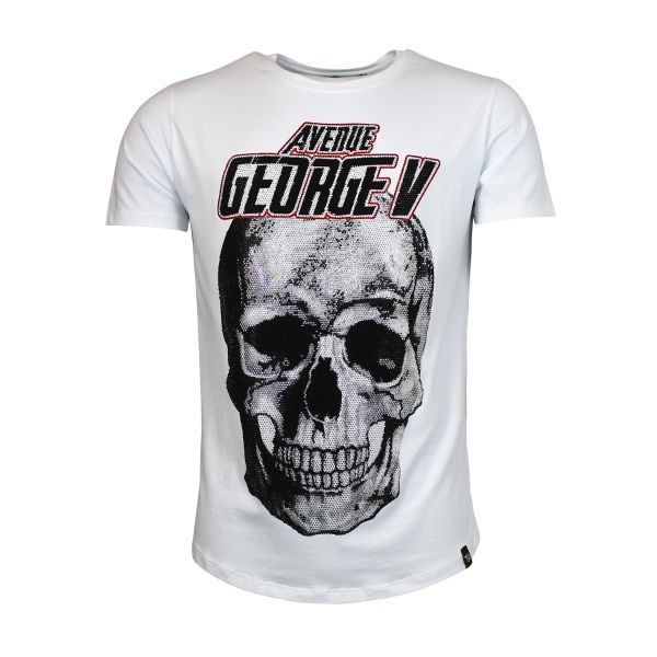 White Bold Skull Diamonte Crew Neck T-Shirt