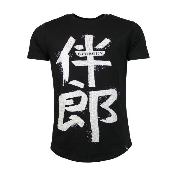 Chinese Print - Black Crew Neck T-Shirt