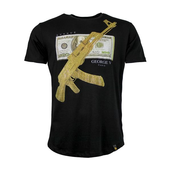 Black And Gold Diamonte Crew Neck T-Shirt