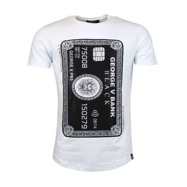 White And Black Card Diamonte Crew Neck T-Shirt