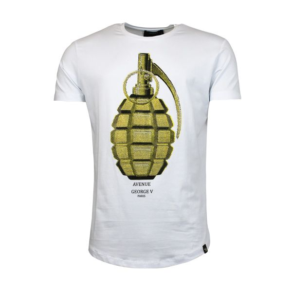 White Diamante Grenade Printed Crew Neck T-Shirt