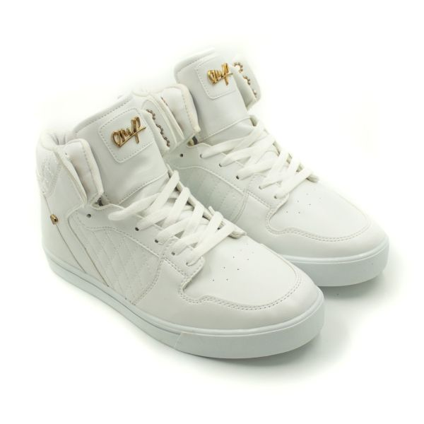 Cash Money White Quilted High-Top Trainers
