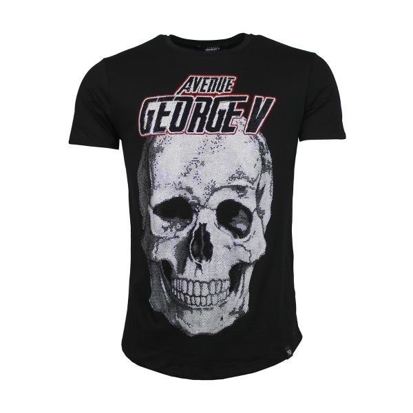 Black Bold Skull Diamonte Crew Neck T-Shirt