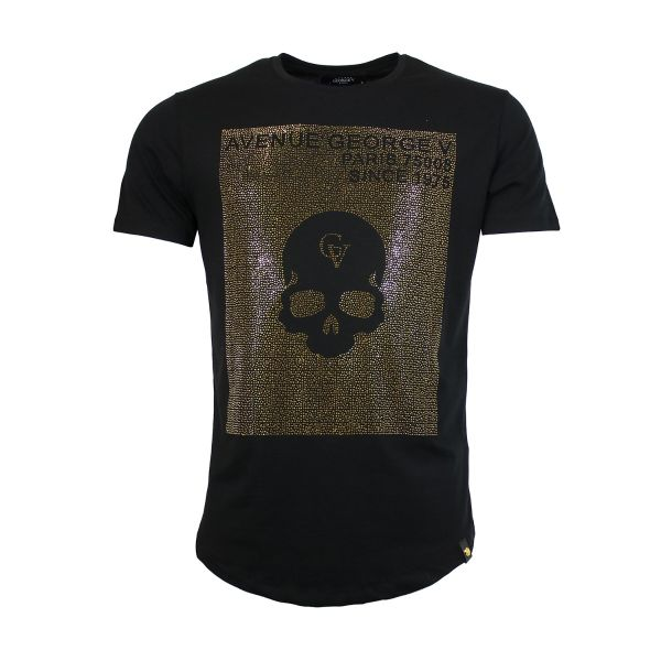 Black And Gold Diamonte Skull Print Crew Neck T-Shirt
