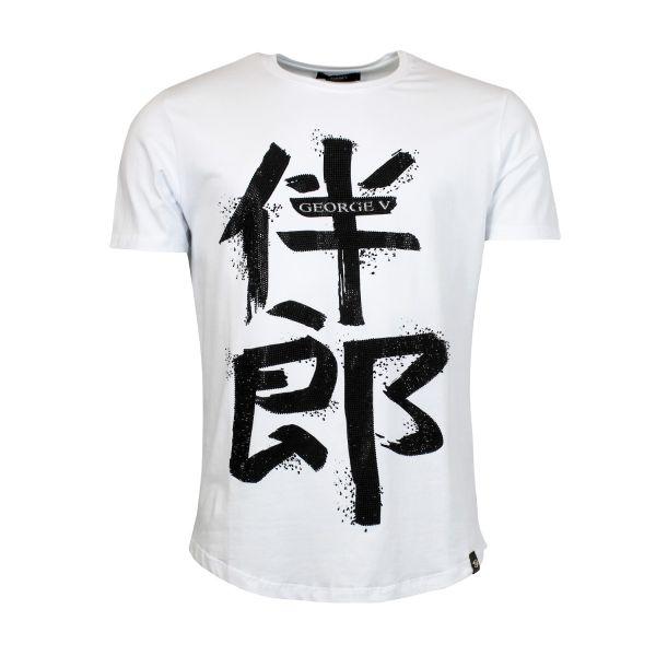 Chinese Print - White Crew Neck T-Shirt