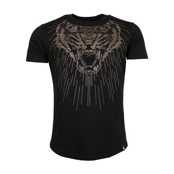 Black and Gold Lion Diamonte Crew Neck T-Shirt