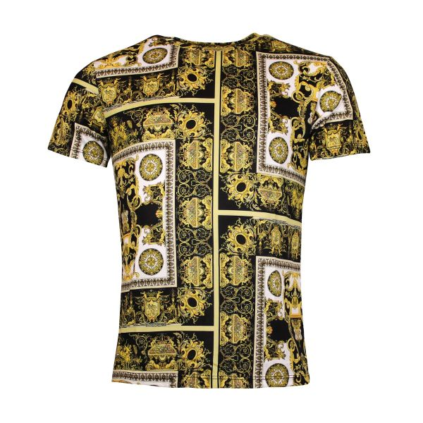 Black and Gold Paisley Crew Neck T-Shirt