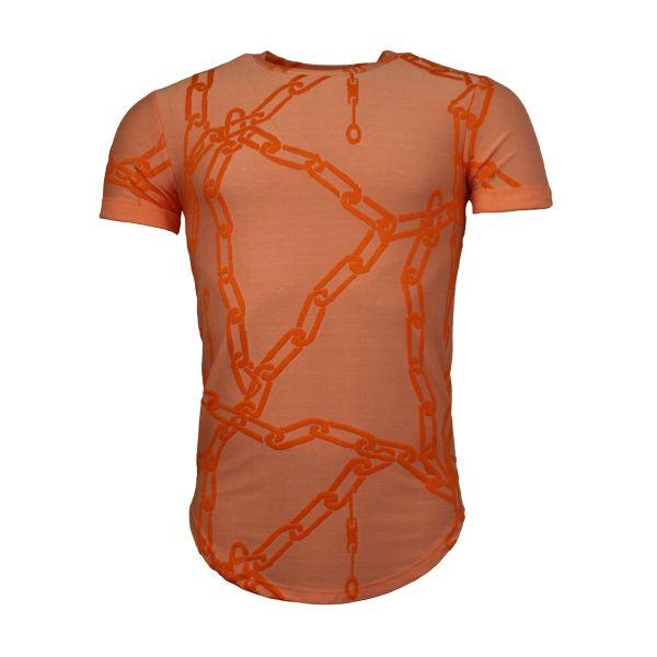 Orange Chain Print Crew Neck T-Shirt