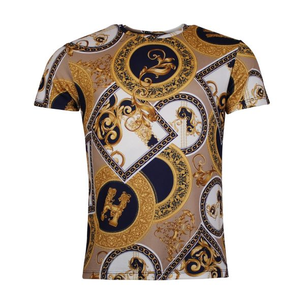 Navy And Gold Bold Patterned Crew Neck T-Shirt