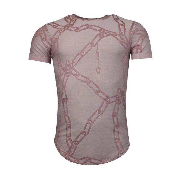 Pink Chain Print Crew Neck T-Shirt