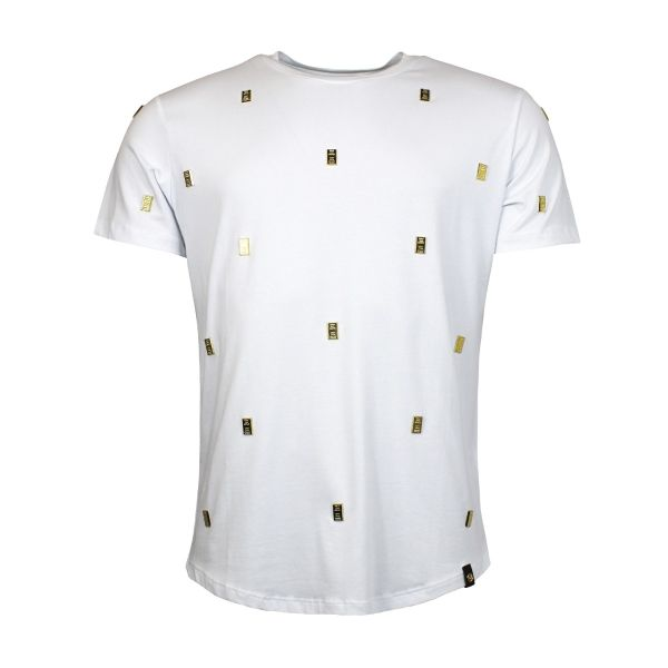 White Sequenced Gold Brick Crew Neck T-Shirt