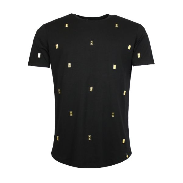 Black Sequenced Gold Brick Crew Neck T-Shirt