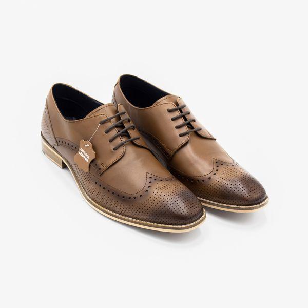 Rome Tan Leather Brogue Shoe