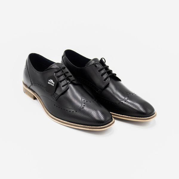 Rome Black Leather Brogue Shoe