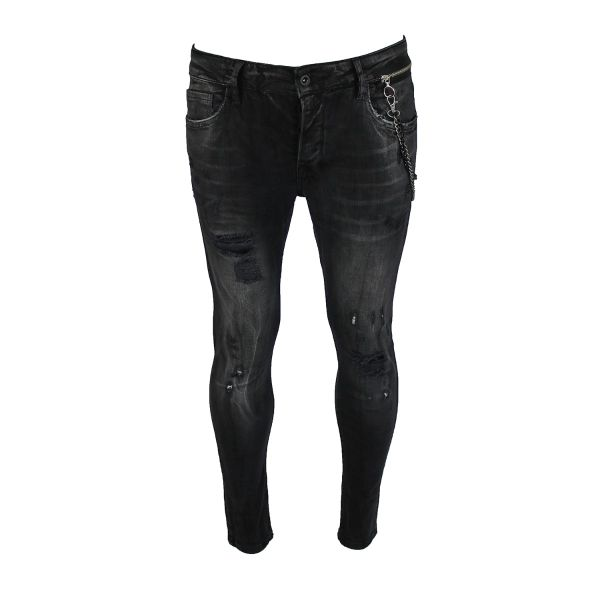 Dark Grey Distressed Chained Jeans