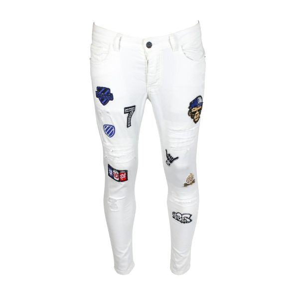 White Patchwork Design Jeans