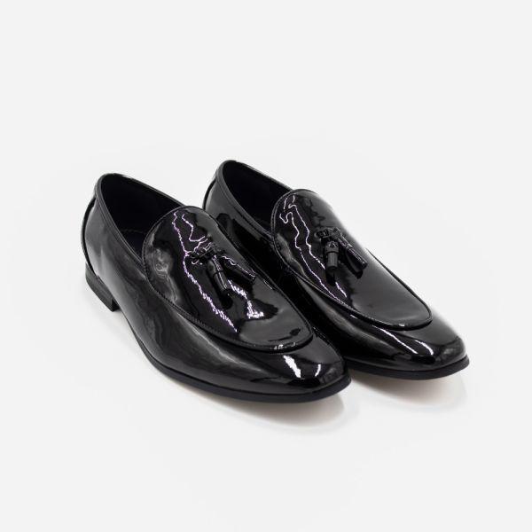 Walter Tassel Black Patent Loafer