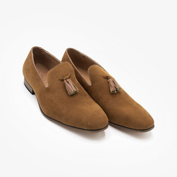 Camel Suede Slip-On Loafer With Tassel Detail