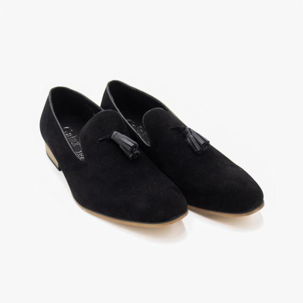 Navy Suede Slip-On Loafer With Tassel Detail