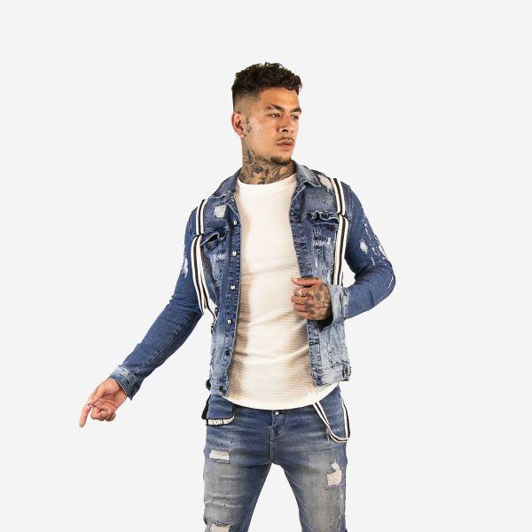 Dark Blue Distressed Denim Jacket Paint Splat Design